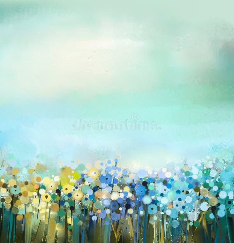Obraz olejny kwiat roślina Dandelion kwiat w polach Łąka krajobraz z wildflower royalty ilustracja