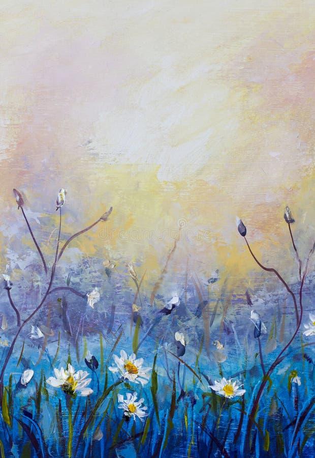 obraz olejny kwiaty, piękny pole kwitnie na kanwie Nowożytny impresjonizm Impastowa grafika ilustracji
