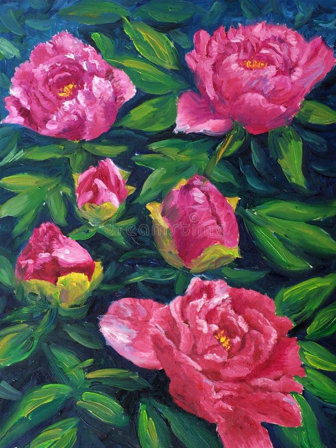 obraz olejny kwitnąca peonia royalty ilustracja