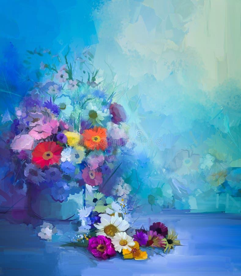 Obraz olejny kwitnie w wazie Wręcza farby życia bukiet wciąż Biały, Żółty i Pomarańczowy słonecznik, Gerbera, stokrotka kwiaty ilustracji