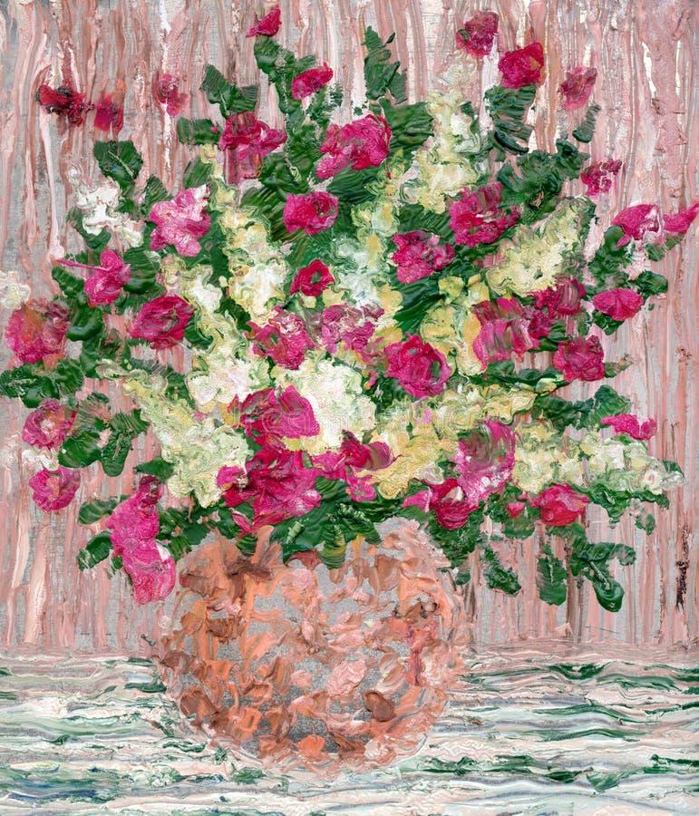 Obraz olejny. Luksusowy bukiet świezi kwiaty ilustracji
