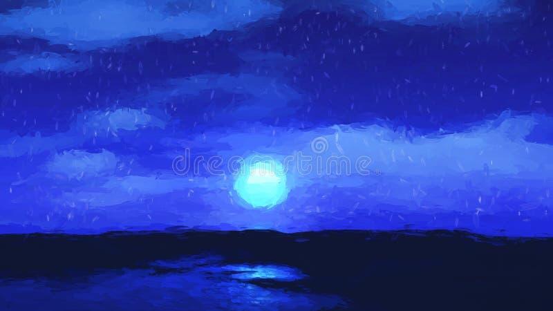 Obraz olejny moonlit niebo krajobraz royalty ilustracja
