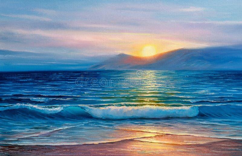 Obraz olejny morze na kanwie fotografia stock