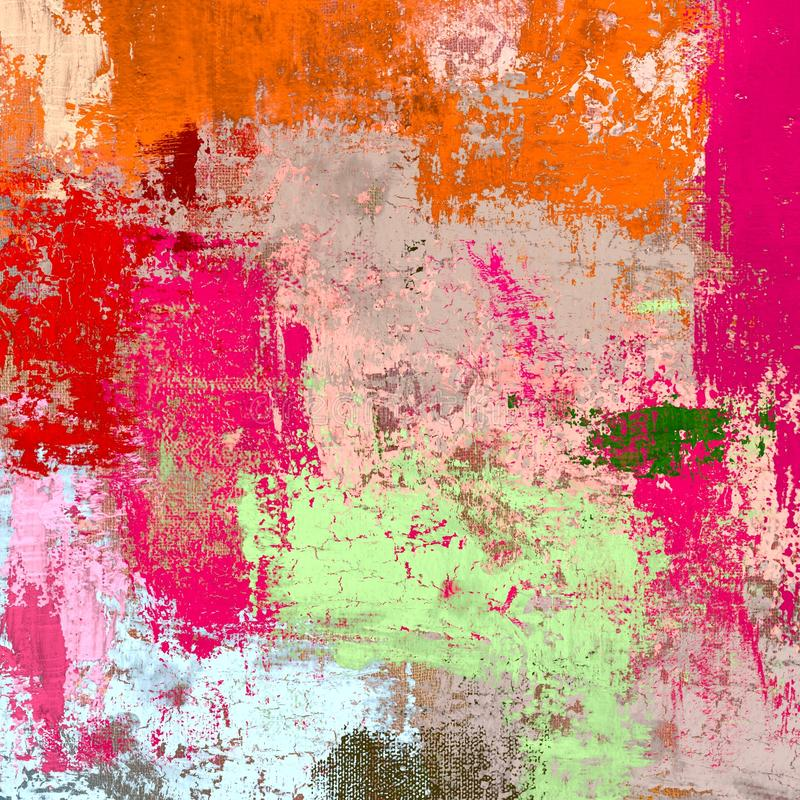 Obraz olejny na brezentowy handmade Abstrakcjonistycznej sztuki tekstura struktura kolorowa nowożytna grafika Uderzenia gruba far royalty ilustracja