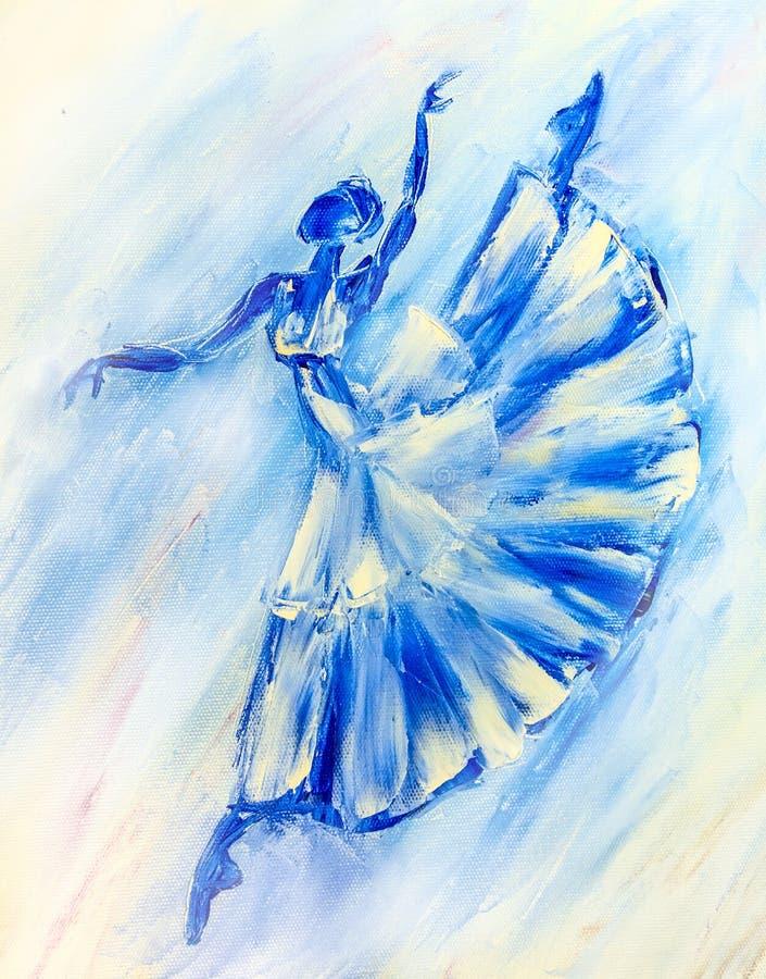 Obraz olejny na kanwie, balerina royalty ilustracja