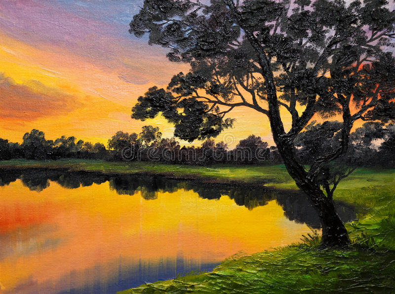 Obraz olejny na kanwie - drzewo blisko jeziora royalty ilustracja
