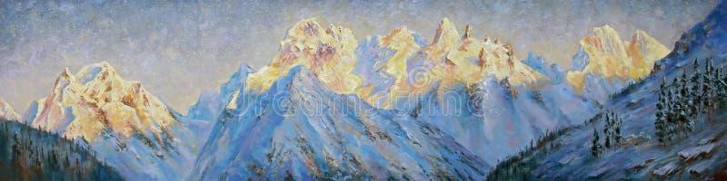 Obraz olejny na kanwie Złoci szczyty Elbrus region ilustracja wektor