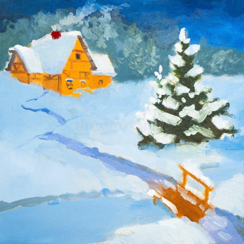 Obraz olejny nocy krajobraz Dom na wsi w zimie Zima krajobraz, śnieg, snowdrift, ogrodzenie Noc, wieczór, buda Silny ilustracja wektor