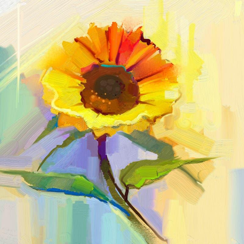 Obraz olejny pojedynczy żółty słonecznik z zielonymi liśćmi ilustracja wektor