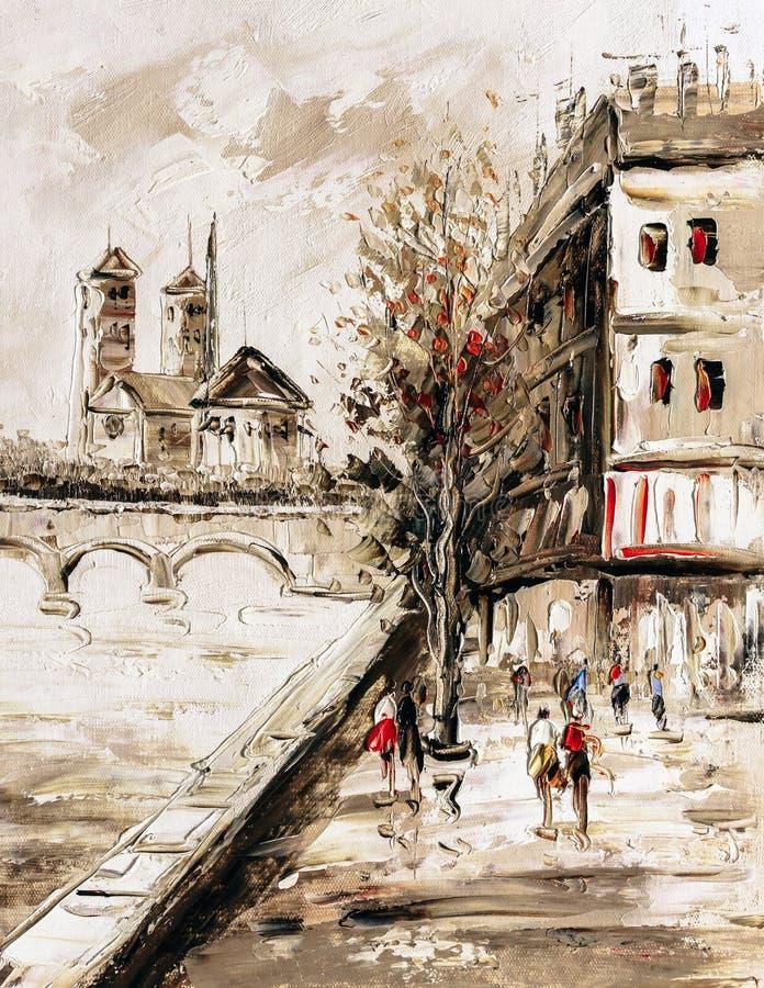 Obraz Olejny - Uliczny widok Paryż royalty ilustracja