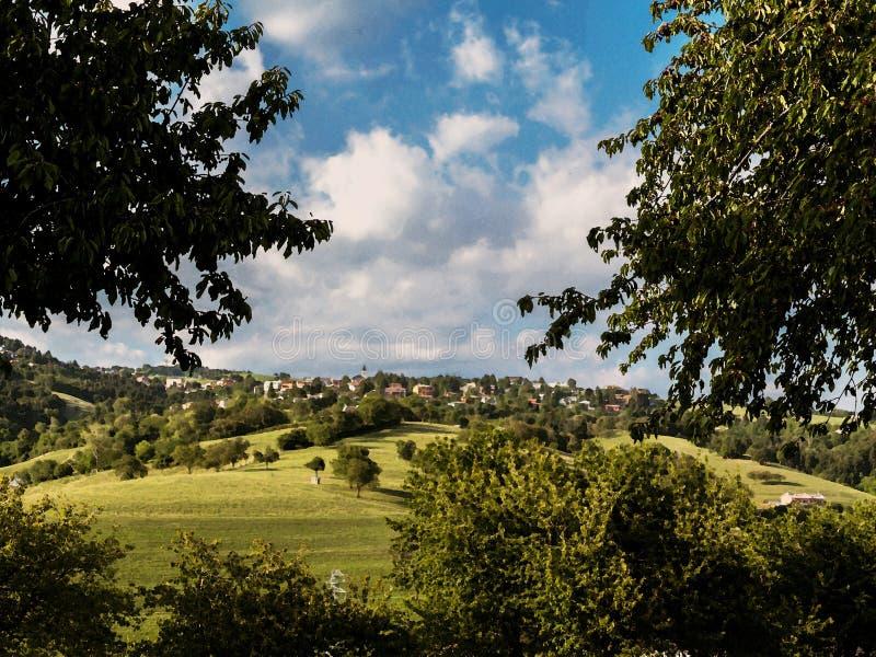 Obraz olejny włoska wieś zdjęcie stock