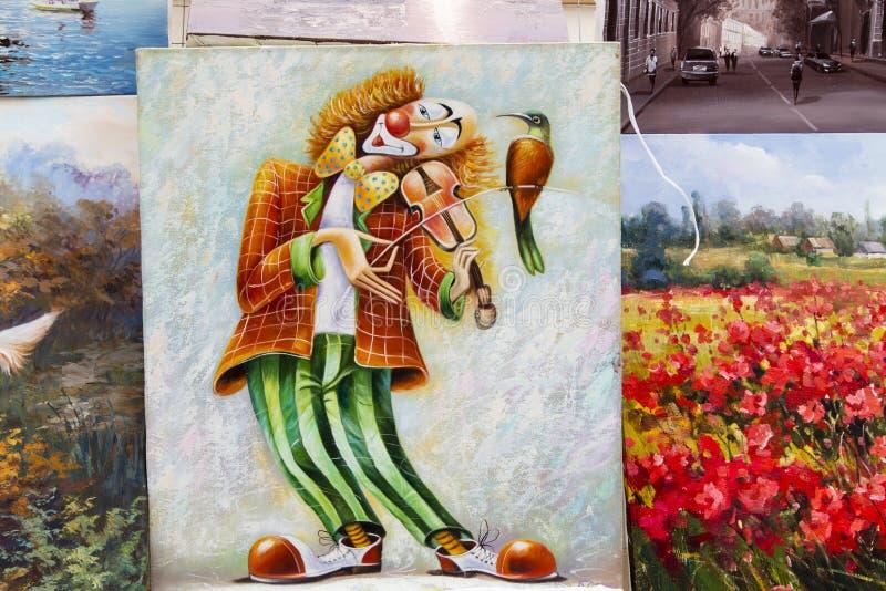 Obraz olejny w ulicie, Moscow obrazy stock