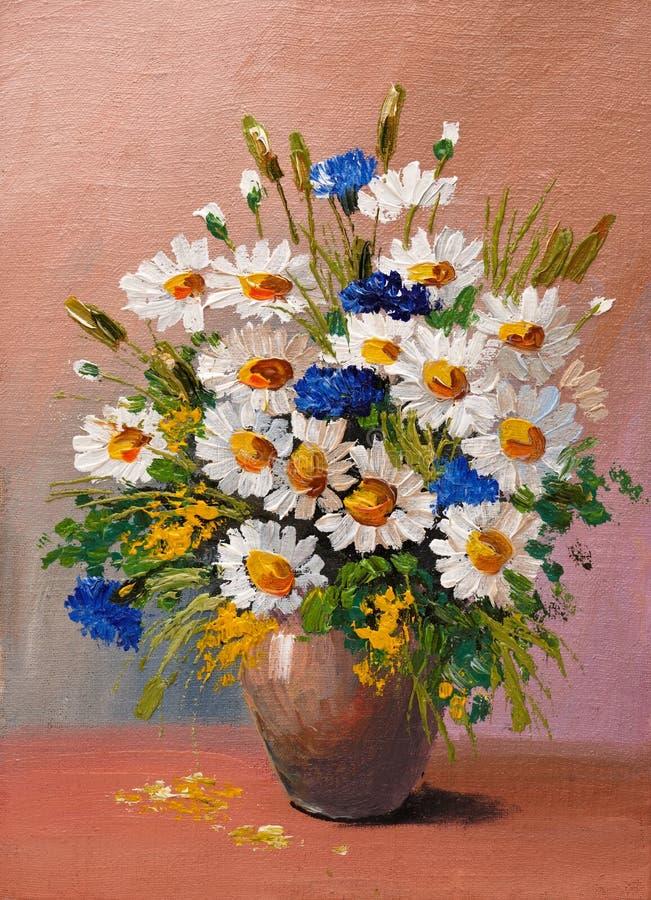 Obraz Olejny - wciąż życie, bukiet kwiaty ilustracji