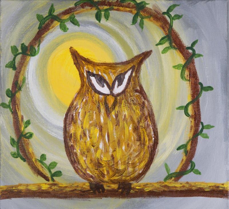 Download Obraz Sneaky Chytra Brown Sowa Na Akrylowym Ilustracji - Ilustracja złożonej z kolec, bagażnik: 57663677