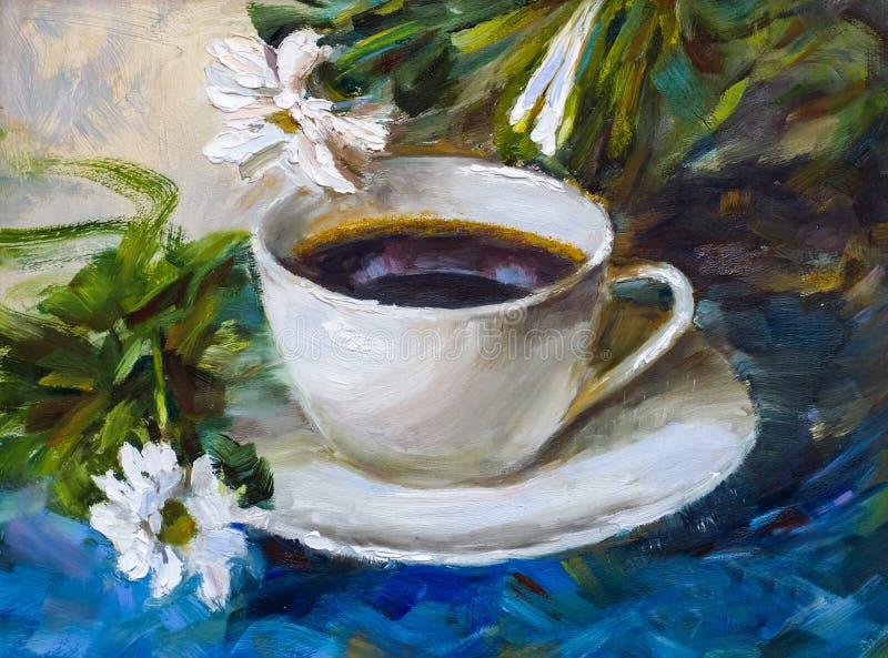 Obraz tekstury obrazu olejnego wciąż życie, filiżanka kawy napój ilustracji