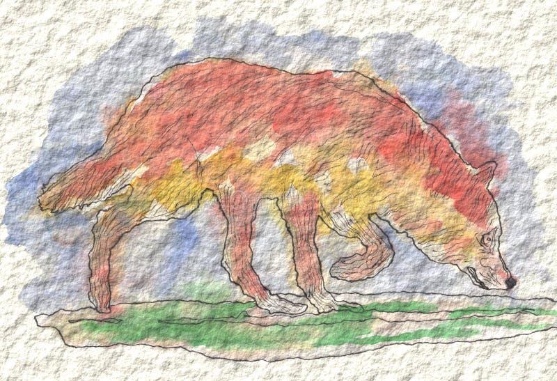 Obraz wilk w akwareli i atrament, ręka malująca ilustracja wektor