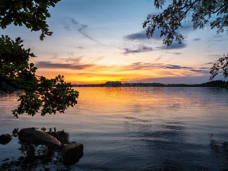 Obraz zachodu słońca w Lakeside z drzewami i niebieskim niebem obrazy royalty free
