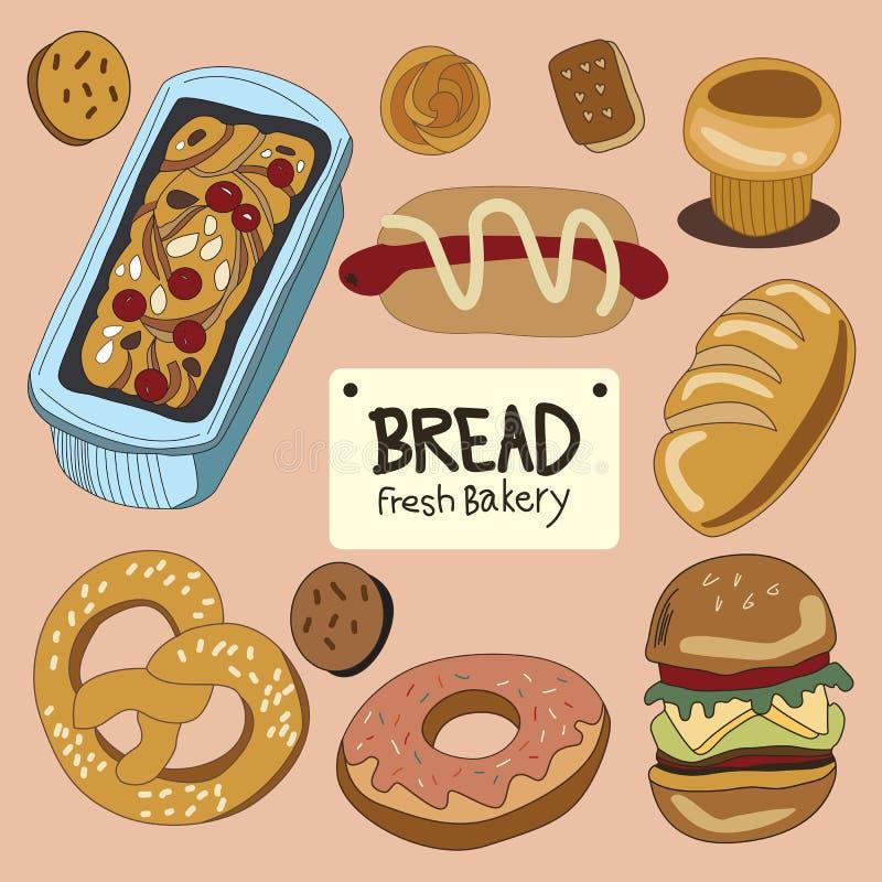 Obrazek chleb i grzanki śliczny colour ilustracji