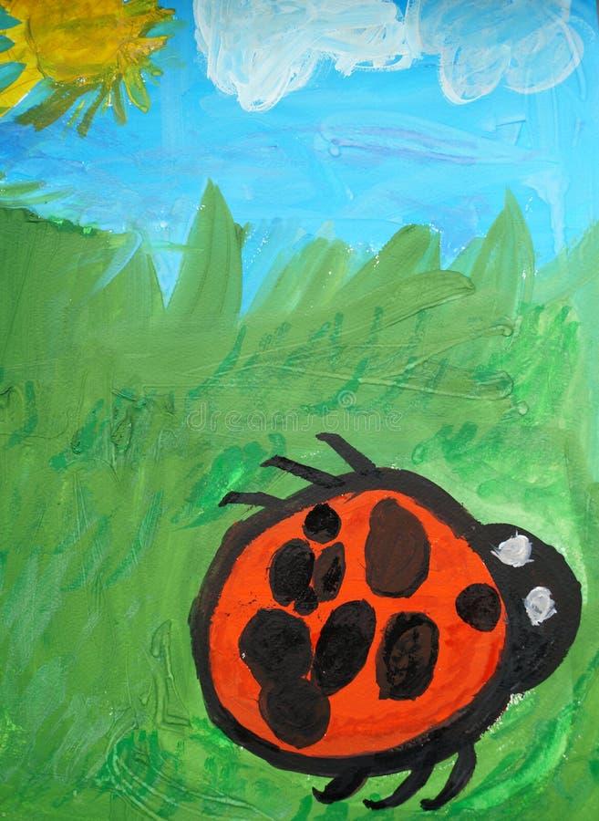 obrazek dziecko insekt biedronka w trawie zdjęcie stock