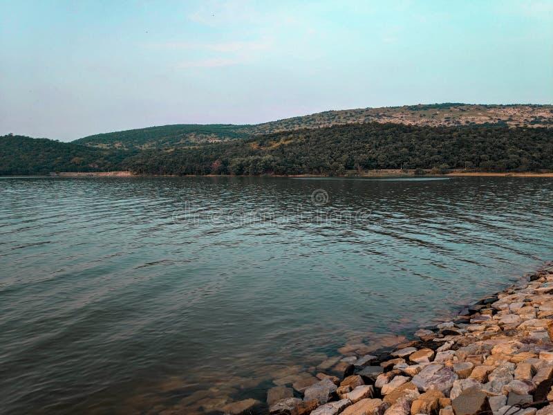 Obrazek krajobraz blisko rezerwata wodnego zdjęcie stock