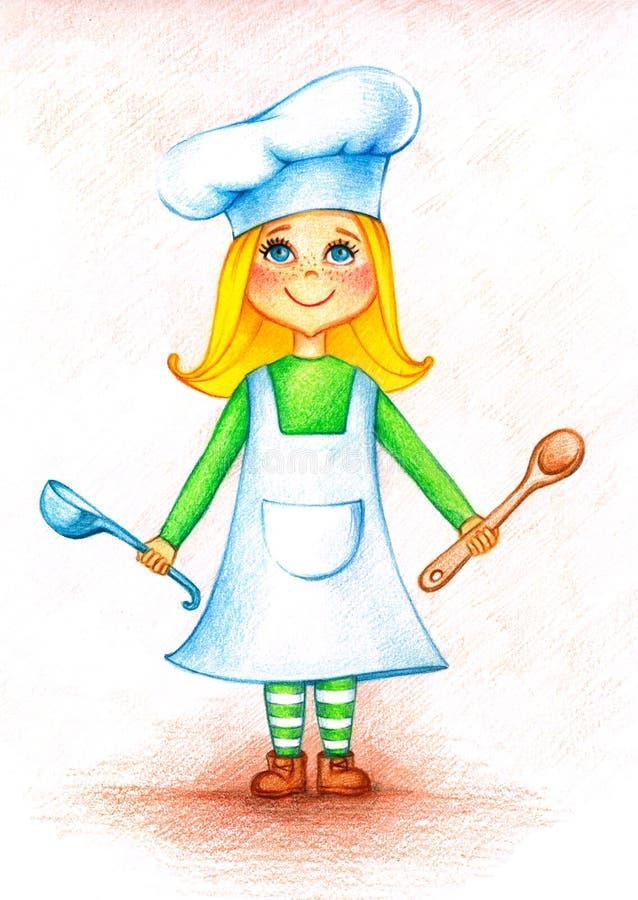 Obrazek mały kucharz z łyżką i bailer ilustracji