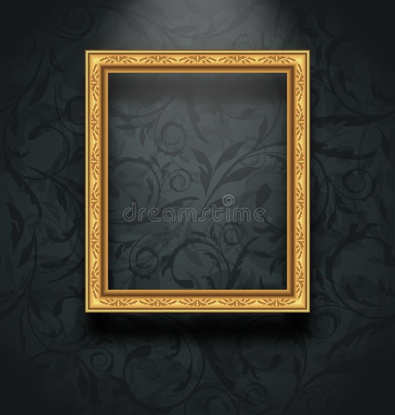 Obrazek rama na kwiecistej tekstury ścianie royalty ilustracja