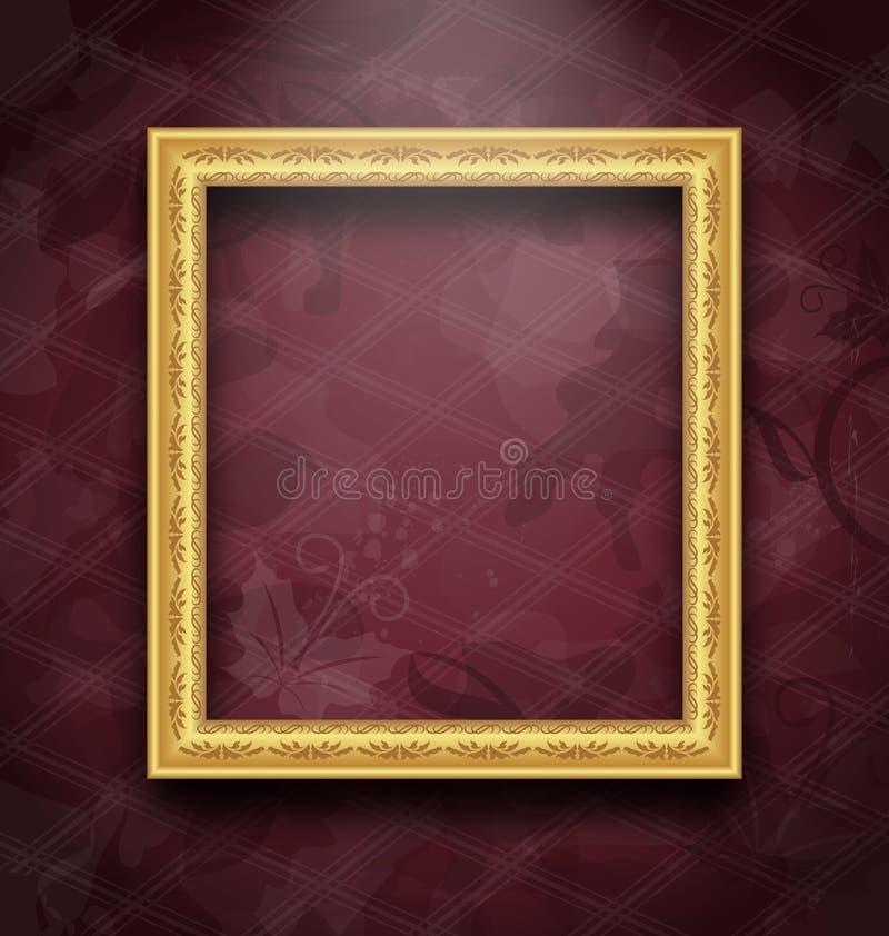 Obrazek rama na kwiecistej tekstury ścianie ilustracja wektor