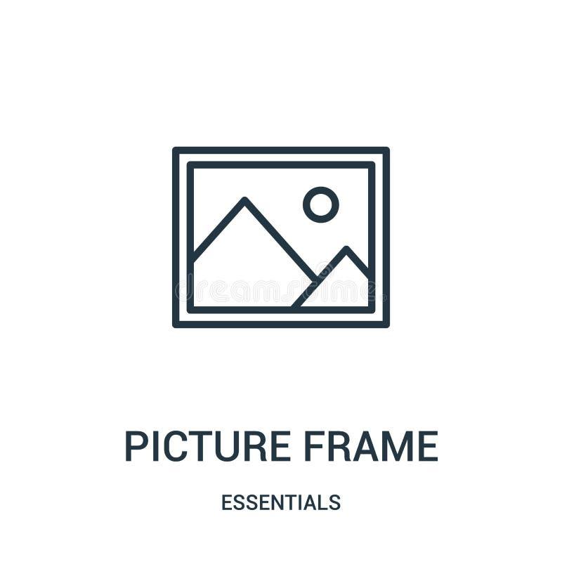 obrazek ramy ikony wektor od podstaw inkasowych Cienka kreskowa obrazek ramy konturu ikony wektoru ilustracja Liniowy symbol dla ilustracji