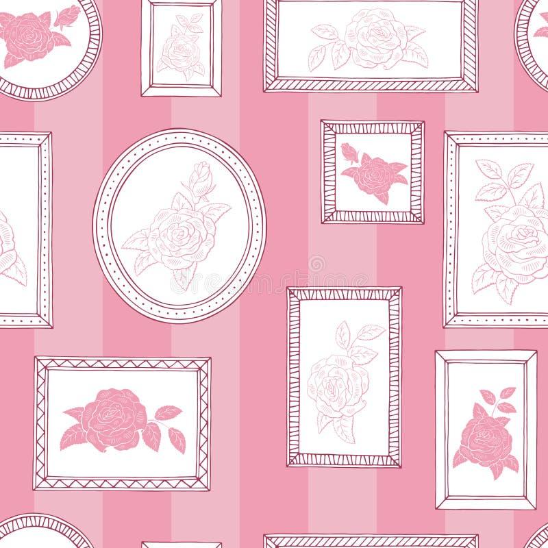 Obrazek ramy róży kwiatu grafiki menchii białego koloru nakreślenia tła ilustraci bezszwowy deseniowy wektor royalty ilustracja