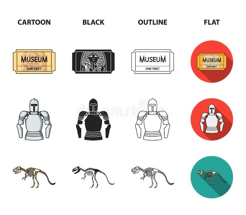 Obrazek, sarkofag pharaoh, talkie, korona Muzeum ustalone inkasowe ikony w kreskówce, czerń, kontur, mieszkanie ilustracji