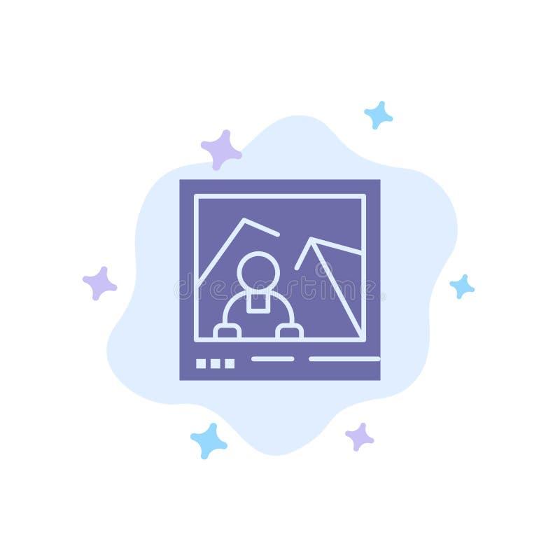 Obrazek, wizerunek, punkt zwrotny, fotografii Błękitna ikona na abstrakt chmury tle royalty ilustracja