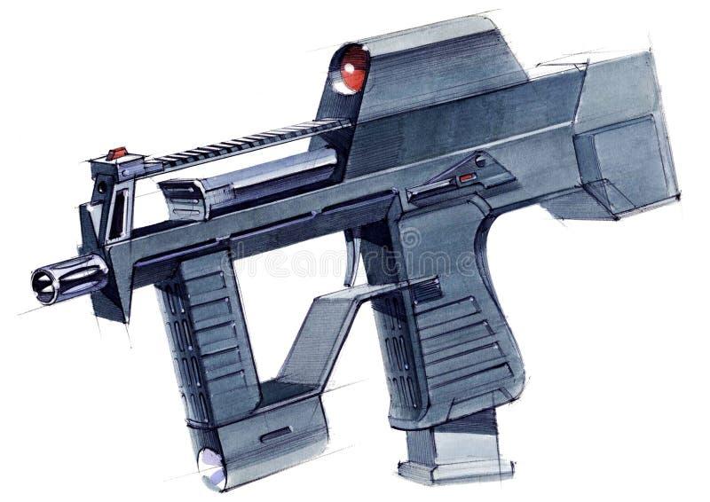 Obrazek wyłączny broni automatycznej submachine pistolet dla bijatyki ilustracja wektor