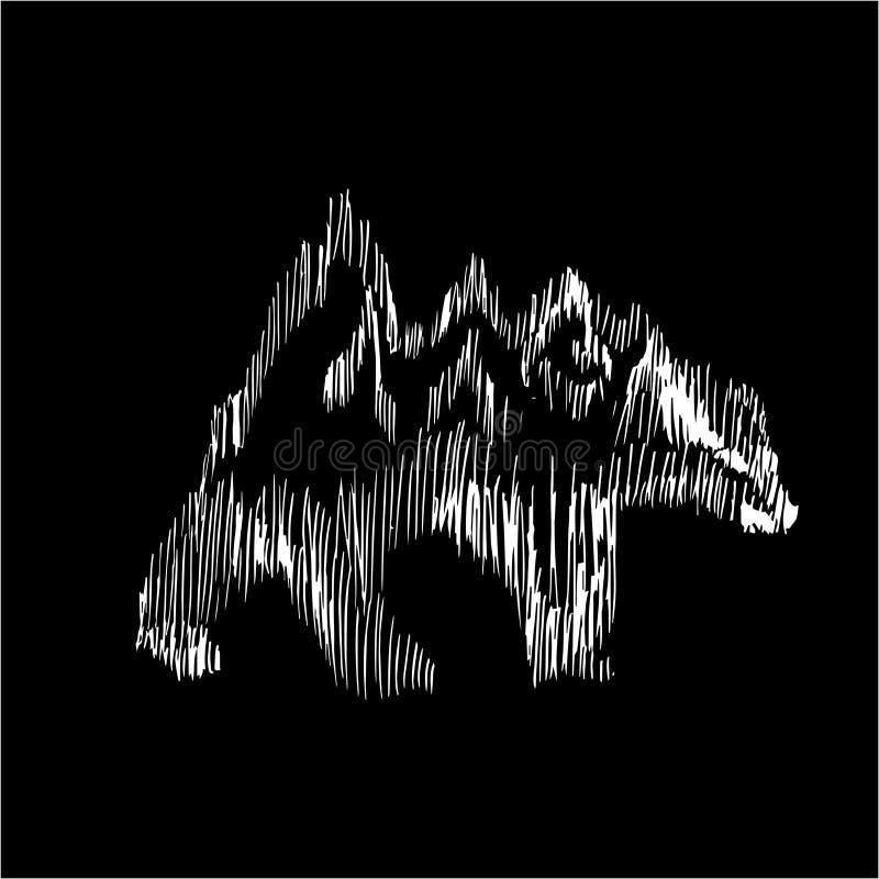 Obrazek z chodzącym niedźwiedziem na jego z powrotem, jest górami Ilustracja jest ręcznie robiony podcieniowaniem Kreda na bl ilustracji