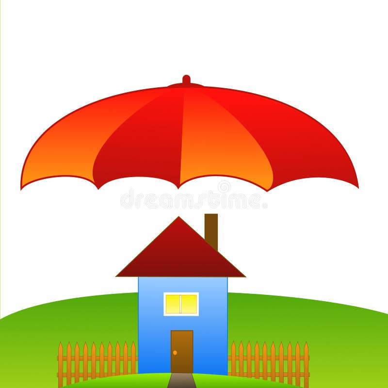 Obrazek z domem na zielonym ampuła parasolu i gazonie ilustracji
