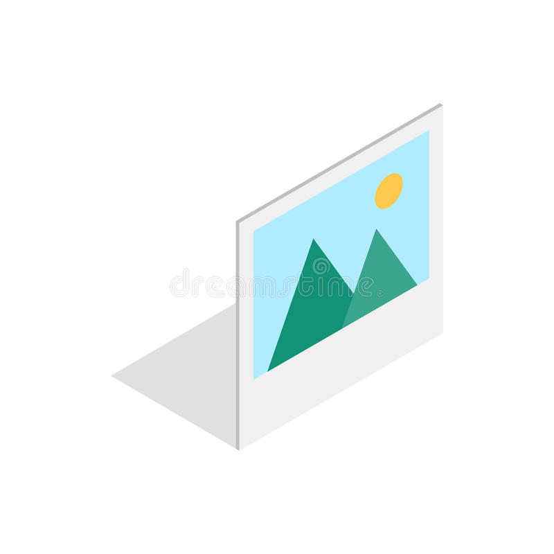 Obrazek z górami i słońce ikoną ilustracji