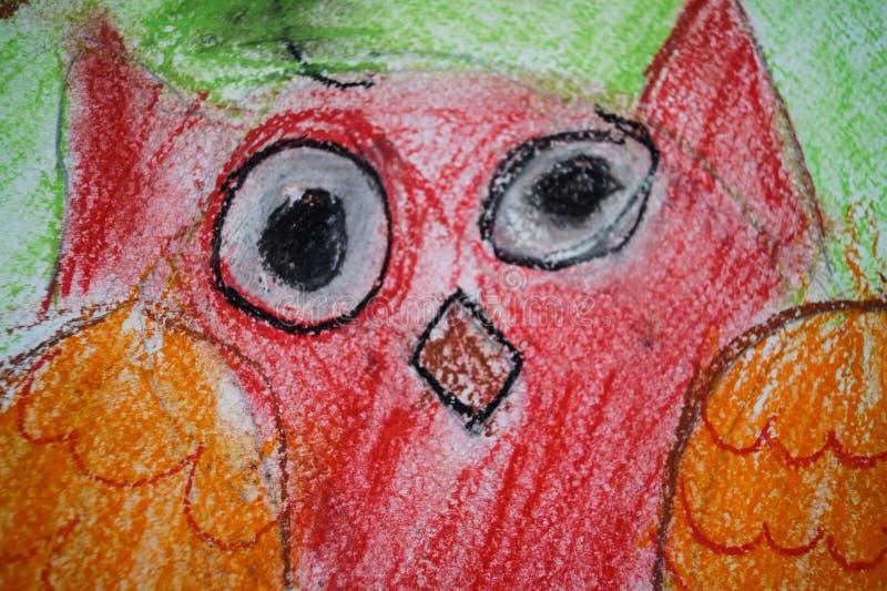 obrazka dziecka głowy sowy czerwona sztuka obrazy royalty free