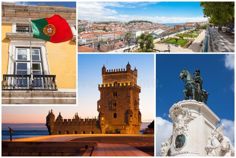 Obrazka kolaż Lisbon miasto w Portugalia fotografia stock