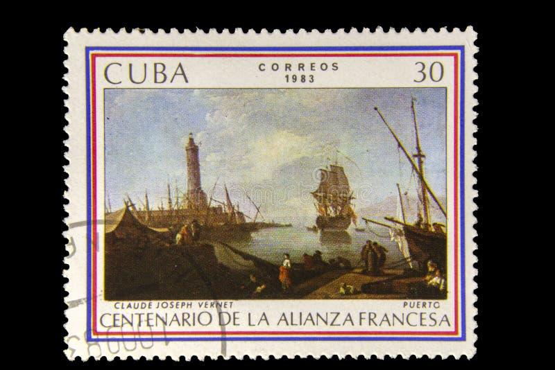 Obrazka znaczek pocztowy Claude Joseph Vernet, Puerto - fotografia royalty free
