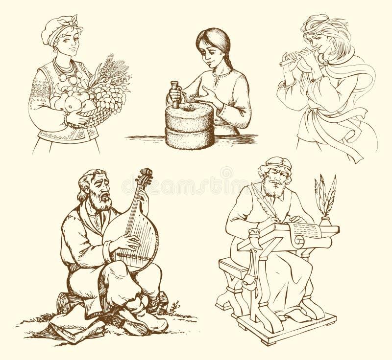 Obrazki antyczne kobiety i mężczyzna dla ich klas ilustracja wektor