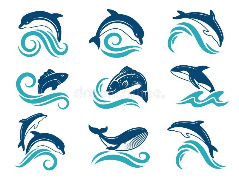 Obrazki delfiny i inni morscy zwierzęta Loga projekta szablon royalty ilustracja