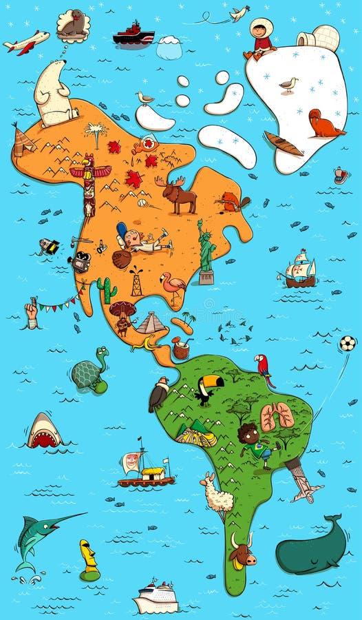 Obrazkowa Colorfull mapa północ i południe Ameryka royalty ilustracja