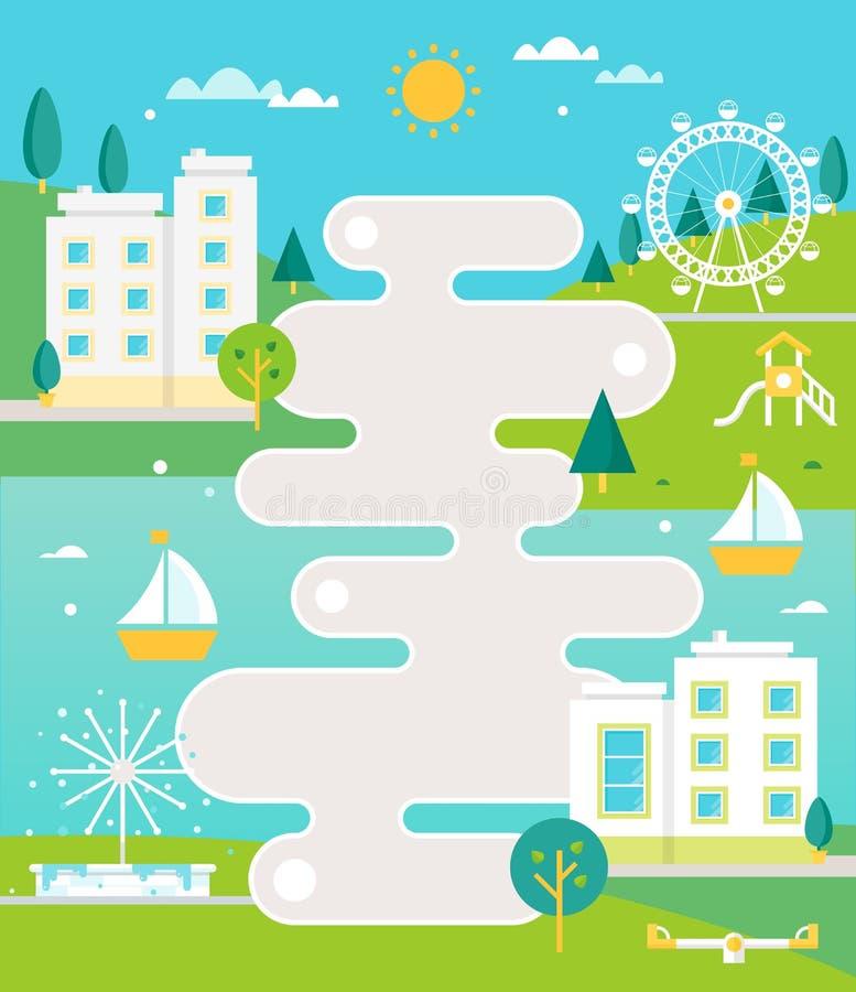 Obrazkowa Drogowa mapa i miasteczko na rzeka krajobrazie z blokami mieszkaniowymi, fontanną i parkiem, Infographics lub Plakatowy royalty ilustracja