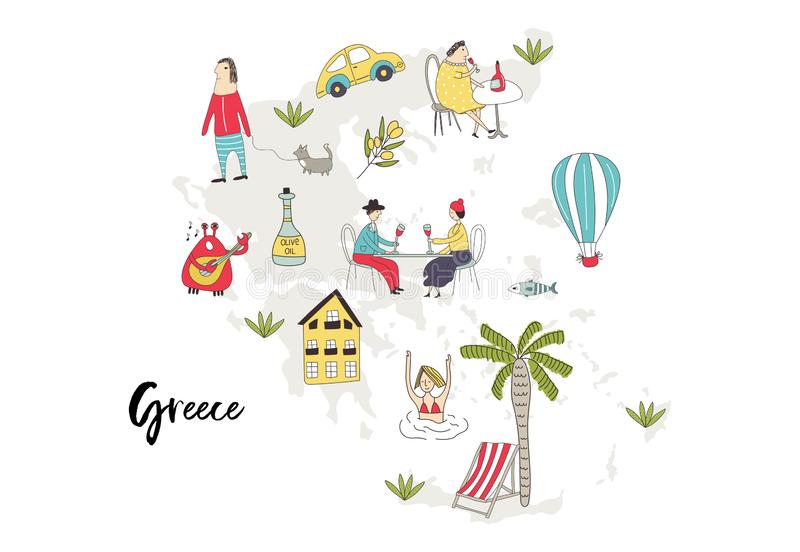 Obrazkowa mapa Grecja z charakterami, roślinami i elementami ślicznych i zabawy ręki rysującymi, kolor plażowej dziewczyny ilustr ilustracja wektor