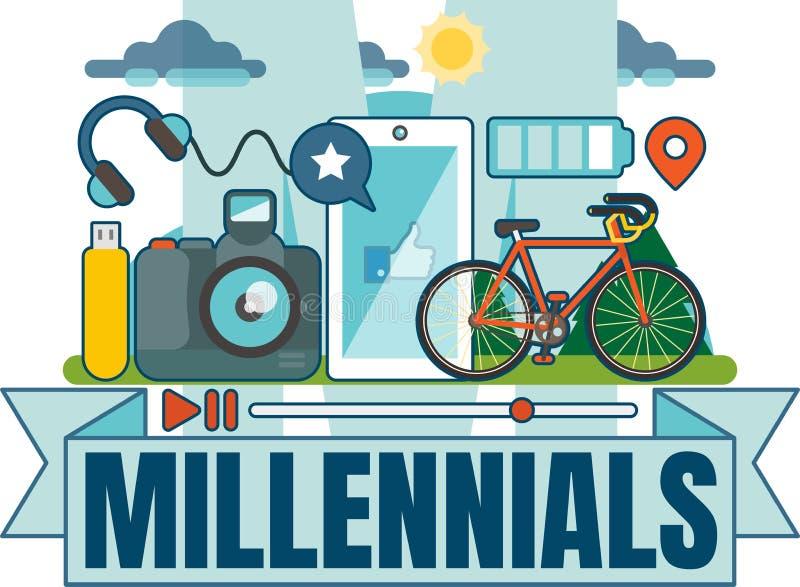 Obrazkowa Millennial wektorowa odznaka ilustracji