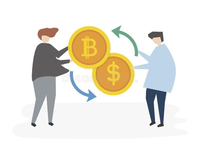 Obrazkowi ludzie łapie pieniądze wymieniać ilustracja wektor