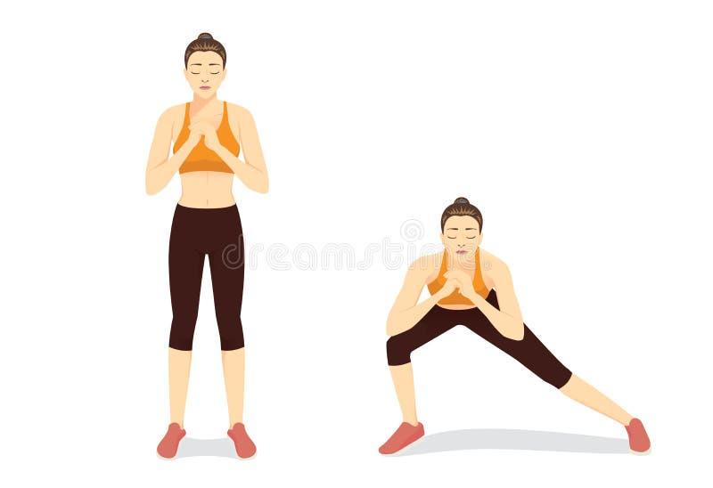 Obrazkowy ćwiczenie przewdonik zdrową kobietą robi Bocznemu Lunges treningowi w 2 krokach ilustracja wektor