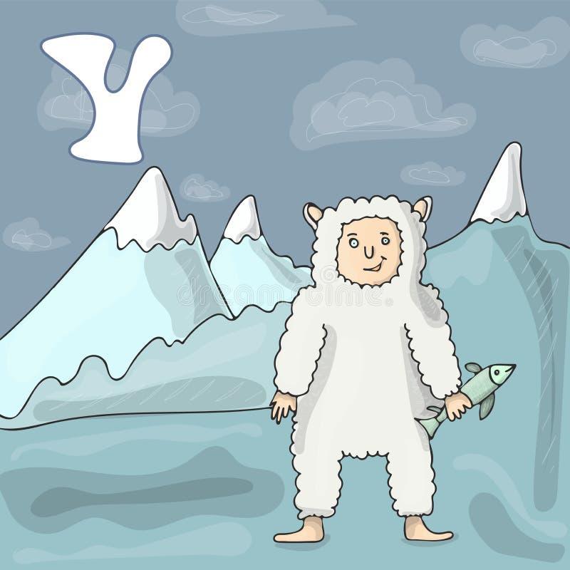 Obrazkowy abecadło list Y i yeti ABC rezerwuje wizerunku wektoru kreskówkę Yeti ssaka charakter blisko gór ilustracja wektor