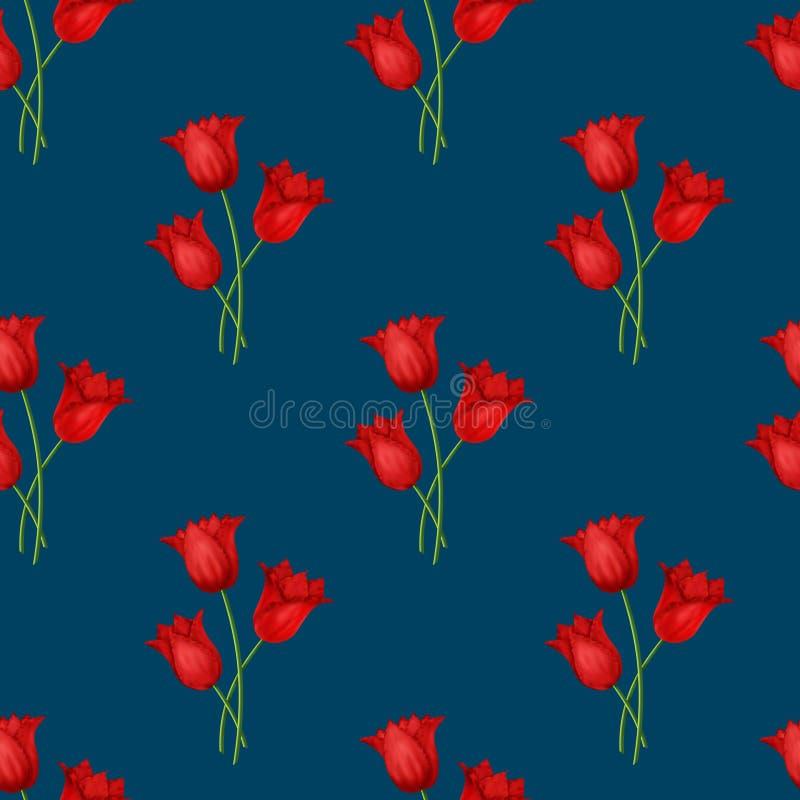 Obrazkowy bezszwowy błękitny tło z bukietami czerwoni tulipany ilustracja wektor