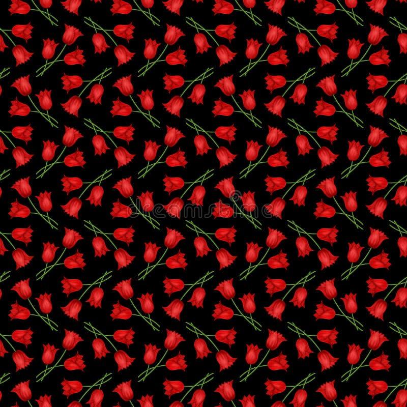 Obrazkowy bezszwowy czarny tło z bukietami czerwony tulipan ilustracja wektor