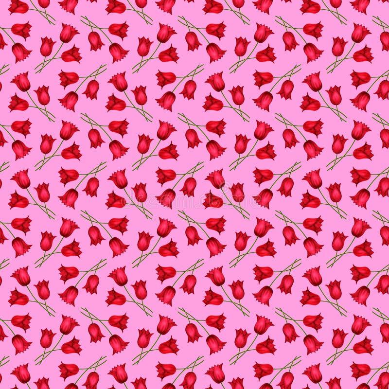 Obrazkowy bezszwowy różowy tło z bukietami czerwoni tulipany ilustracja wektor